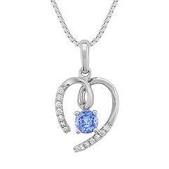 Round Kentucky Blue Sapphire and Diamond Heart Pendant (18 in.)