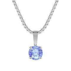 "Round Ice Blue Sapphire Pendant (18"")"