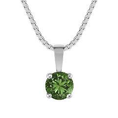 "Round Green Sapphire Pendant (18"")"
