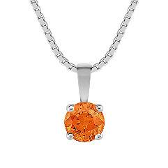 Round Orange Sapphire Pendant (18)