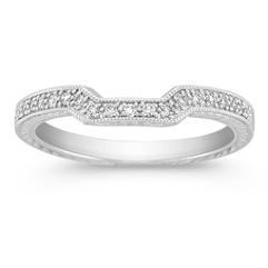 Pave Set Diamond Contour Wedding Band with Side Engraving