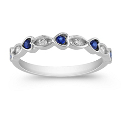 Round Sapphire and Diamond Heart Ring