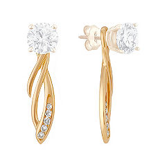 Round Diamond Dangle Earring Jackets in 14k Yellow Gold