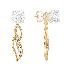 Round Diamond Swirl Dangle Earring Jackets in 14k Yellow Gold