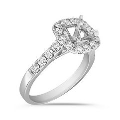 Halo Cathedral Diamond Engagement Ring with Pavé Setting