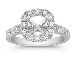 Halo Cathedral Engagement Ring with Pave Set Diamonds