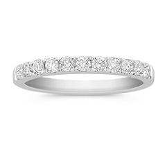 Pave Set Diamond Wedding Band in 14k White Gold