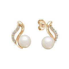 7mm Cultured Akoya Pearl and Diamond Earrings