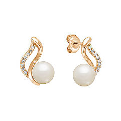 7mm Cultured Akoya Pearl and Diamond Earrings