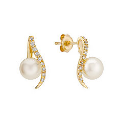 Diamond and 7mm Cultured Akoya Pearl Swirl Earrings