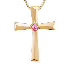 Princess Cut Pink Sapphire Cross Pendant in 14k Yellow Gold (18 in.)