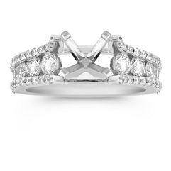 Cathedral Round Diamond Engagement Ring with Center Isle