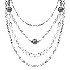 9mm Cultured Tahitian Pearl and Sterling Silver Necklace (18)