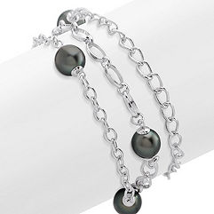 9mm Cultured Tahitian Pearl and Sterling Silver Bracelet (7.5)