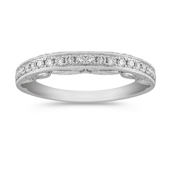 Pave Set Vintage Diamond Wedding Band in Platinum