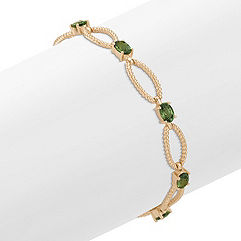 Oval Green Sapphire Bracelet (7) in 14k Yellow Gold