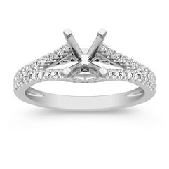Diamond Split Shank Engagement Ring with Pave Setting