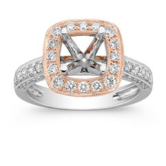 Halo Diamond 14k White and Rose Gold Engagement Ring