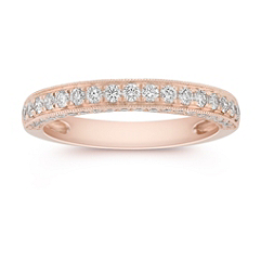 Diamond Pave Set Wedding Band in Rose Gold