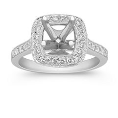 Grand Halo Diamond Engagement Ring with Pave Setting