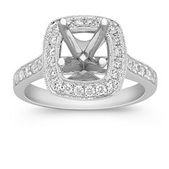 Pave-Set Halo Diamond Engagement Ring with Milgrain