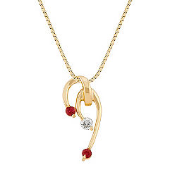 Round Ruby and Diamond Pendant (18 in.)