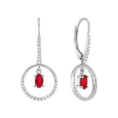 Oval Ruby and Diamond Earrings