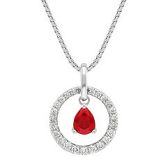 Pear Shaped Ruby and Diamond Pendant (18 in.)