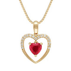 Heart-Shaped Ruby and Diamond Heart Pendant in 14k Yellow Gold (18 in.)