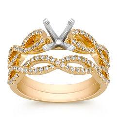 Double Infinity Diamond Wedding Set in 18k Yellow Gold