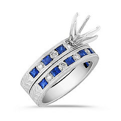 Princess Cut Sapphire and Round Diamond Wedding Set