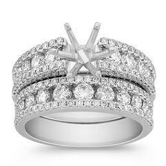 Inlay and Outline Round Diamond Wedding Set
