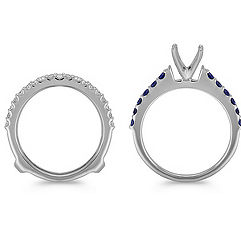 Three Row Round Sapphire and Diamond Wedding Set with Pavé Setting