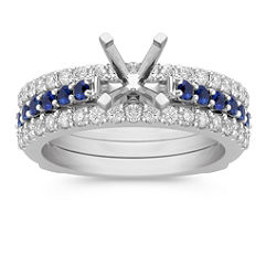 Three Row Round Sapphire and Diamond Wedding Set with Pave Setting