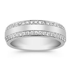 Diamond Ring for Him with Pave Setting