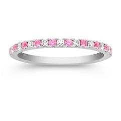 Pink Sapphire and Diamond Wedding Band with Pavé Setting