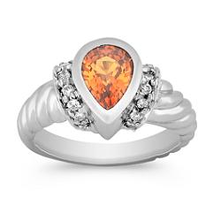 Pear Shape Orange Sapphire and Round Diamond Ring