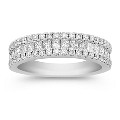 Three Row Princess Cut and Round Diamond Wedding Band