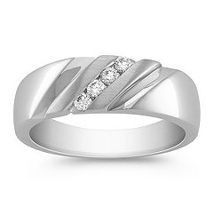 Diagonal Round Diamond Ring with Channel Setting