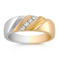 Diagonal Round Diamond Ring in Two-Tone Gold with Channel Setting