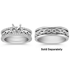 Swirl Diamond Woven Wedding Set