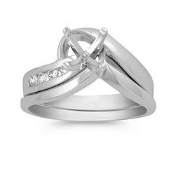 Round Diamond Wedding Set with Channel Setting