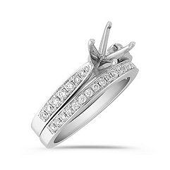 Delicate Pave Set Round Diamond Wedding Set