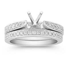 Pave Set Round Diamond Wedding Set - 1/2 ct. t.w