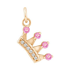 Round Pink Sapphire and Diamond Crown Charm in 14k Yellow Gold