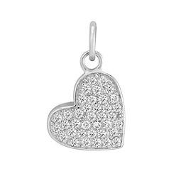 Round Diamond Heart Charm