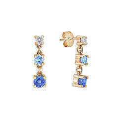 Round Multi-Colored Sapphire and Diamond Three-Stone Earrings