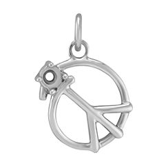 14k White Gold Peace Charm