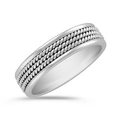Rope Detailed 14k White Gold Ring (6mm)