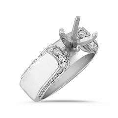 Cathedral Border Diamond Engagement Ring with  Pavé Setting